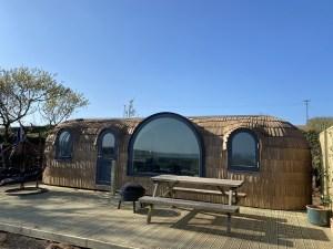 exterior Jam First Iglucraft cabin at Lydcott Glamping